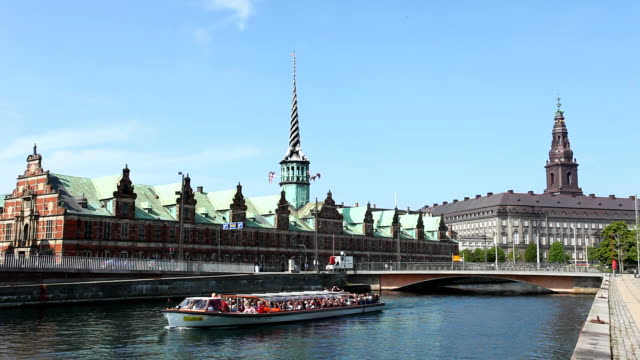Copenhagen with Stock exchange Copenhagen with Stock exchange wasser videos stock videos & royalty-free footage