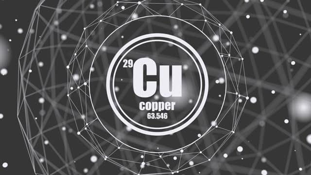 vídeos de stock, filmes e b-roll de elemento químico de cobre. - símbolo