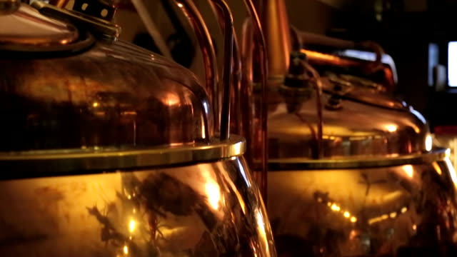 Copper vats for beer fermentation video