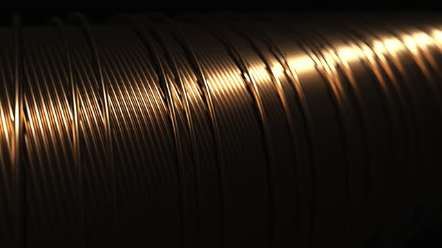 Copper wire. Electric motor winding. 4k UHD video. Seamless loop. Shallow depth of field