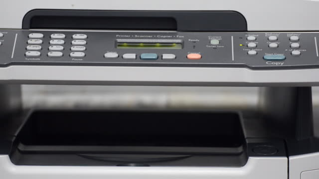 vídeos y material grabado en eventos de stock de máquina copiadora escáner y servicio de impresión - escáner plano