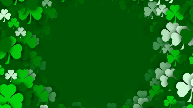 Copy Space, Shamrocks Zooming by, for Saint Patrick's Day (Loopable)