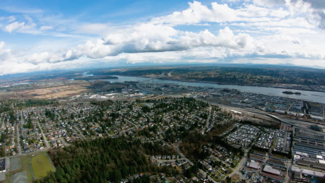 Coquitlam BC Canada Aerial View Fraser River Highway 1 Port Mann Bridge