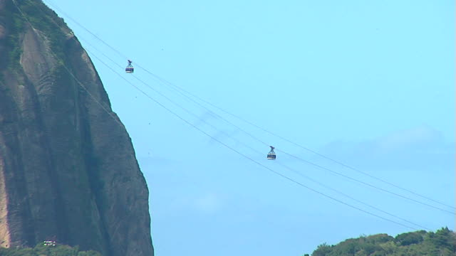Corcovado Montain in Rio de Janeiro Zoom Out of Corcovado Mountain with cable car on a beautiful day with blue sky. cristo redentor stock videos & royalty-free footage