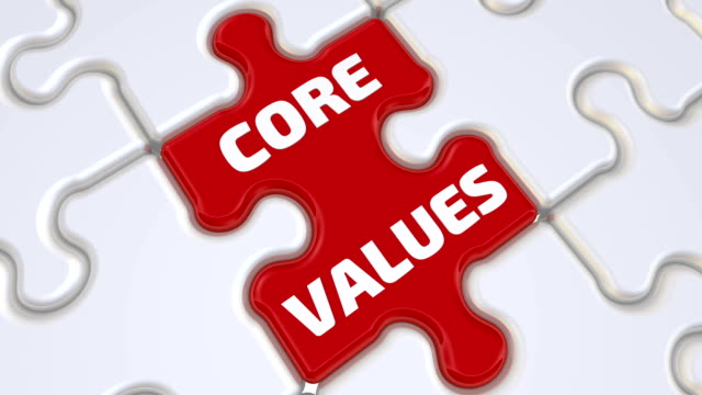 Core values. The inscription on the missing element of the puzzle