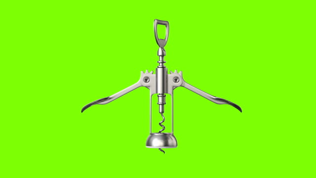 Corkscrew, 3d animation on a green background Corkscrew, 3d animation on a green background. seamless loop cork stopper stock videos & royalty-free footage