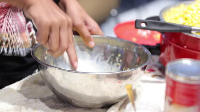 Corn butter and corn custard.thai dessert Cook steamed video
