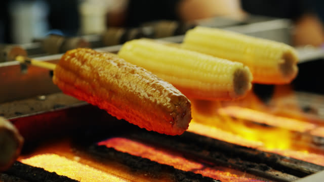 Corn on the Cob Being Grilled at Raohe Night Market