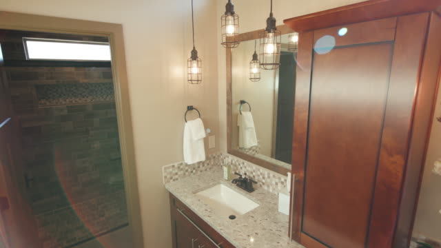 Corner of Double Sink Bathroom Modern Sun Flare Lowering video