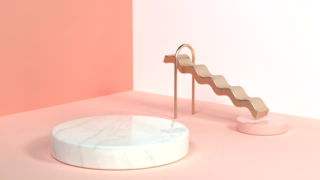 vidéos et rushes de angle mur plancher blanc orange rose/soft scène géométrique texture marbre et or rendu 3d abstrait proposition graphique bouclables - douceur