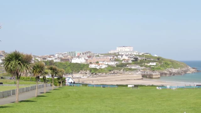 Cornwall Holiday Town on a hill overlooking the sea and beach video