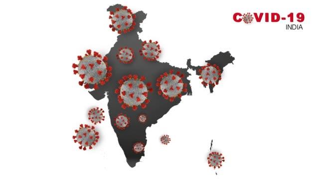 vídeos de stock, filmes e b-roll de corona vírus covid-19 vírus microscópico corona vírus doença 3d ilustração índia mapa índia bandeira infectada índia - nova delhi