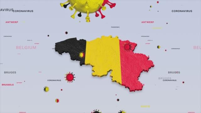 corona virus outbreak with belgium flag and map coronavirus concept stock video - belgio video stock e b–roll