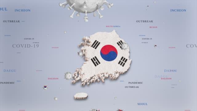 güney kore bayrak ve harita coronavirus concept stok video ile corona virüs salgını - güney kore stok videoları ve detay görüntü çekimi