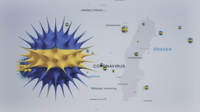 corona virus utbrott med sverige flag och karta coronavirus concept lager video - sweden map bildbanksvideor och videomaterial från bakom kulisserna