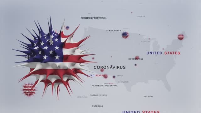 Corona Virus Outbreak with USA Flag and Map Coronavirus Concept stock video 3D animation of USA flag with viruses and Map (Coronavirus Concept) The Americas,USA ,United States about us stock videos & royalty-free footage