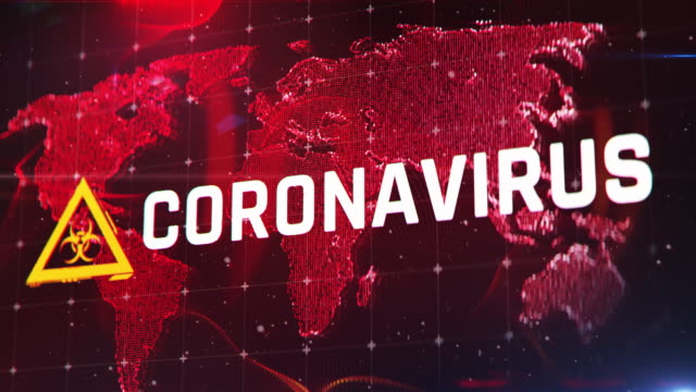 Coronavirus against red world map background, outbreak, pandemic, danger Warning message on screen environmental consciousness stock videos & royalty-free footage