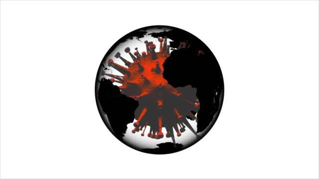 코로나 바이러스와 행성 - 회전 바이러스와 지구 애니메이션 - 동작 정지 스톡 비디오 및 b-롤 화면
