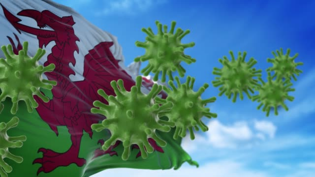 Coronavirus Covid-19 are Spreding to The Sky or Cleaning From Welsh Flag in 4K Resolution
