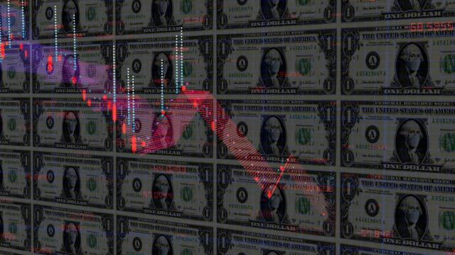 stockvideo's en b-roll-footage met coronavirus covid-19 economische recessie concept achtergrond - yenteken