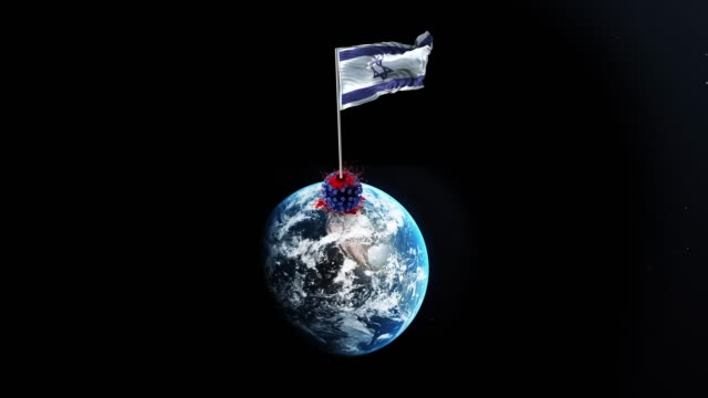 Coronavirus Covid-19 is Defeated by Israel and Israeli Flag is Waving Over Demolished Virus on Spinning Globe in 4K Resolution
