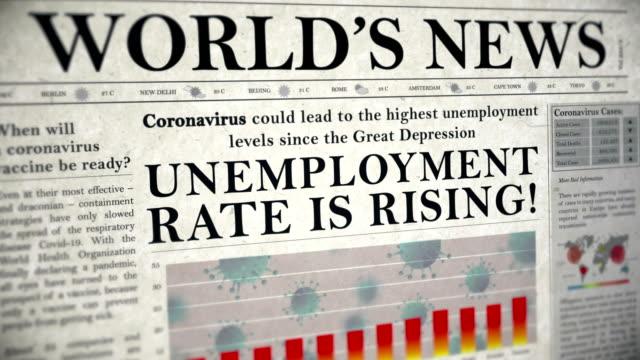 Coronavirus Covid-19 Virus Unemployment Rate is Rising Headline Newspaper Animation