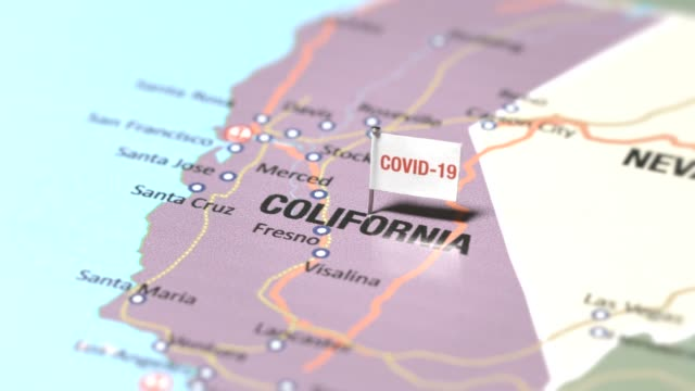 Coronavirus flag on Colifornia Coronavirus is out breaking Colifornia on world map california map stock videos & royalty-free footage