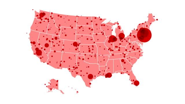 米国のコロナウイルスマップ:症例状態別 - アメリカ文化点の映像素材/bロール