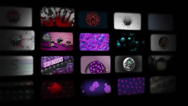 vídeos de stock, filmes e b-roll de gráficos de notícias coronavírus em fluxo animado - história