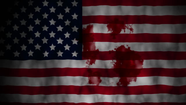 Coronavirus outbreak alert on USA flag and blood spreading all over video