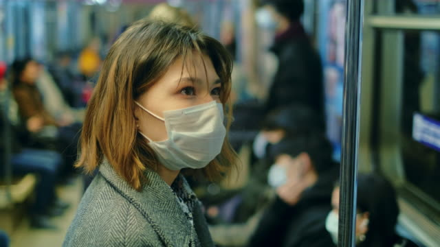 Coronavirus Pandemic Epidemic China. Chinese Flu People Subway. Public Transport video