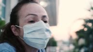 istock Coronavirus prevention. Woman wearing protective mask. Worried expression. 1216081777
