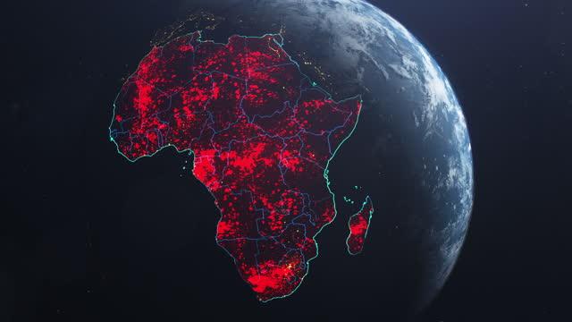 коронавирус распространяется в африке. земля, увиденная из космоса, покрытая красными пульсирующими точками первых случаев - континент географический объект стоковые видео и кадры b-roll