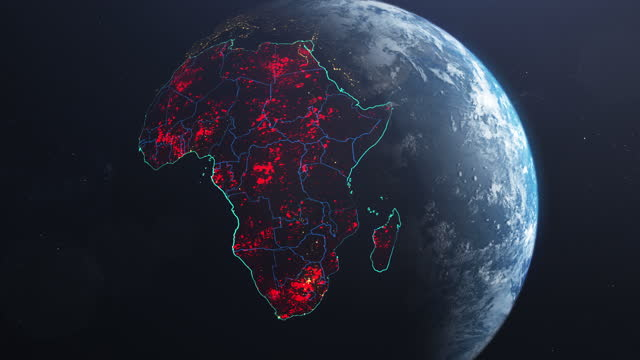 Coronavirus spreading in Africa. Earth seen from space, covered with red, pulsing dots of first cases The Africa marked on Earth model seen from space. Appearing red dots in states. NASA public domain imagery country geographic area stock videos & royalty-free footage
