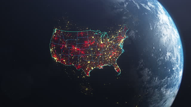 Coronavirus spreading in USA. Earth seen from space, covered with red, pulsing dots of first cases The USA marked on Earth model seen from space. Appearing red dots in states. NASA public domain imagery country geographic area stock videos & royalty-free footage