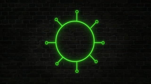 Coronavirus Stock Video Icon, Vector icon, Neon Sign
