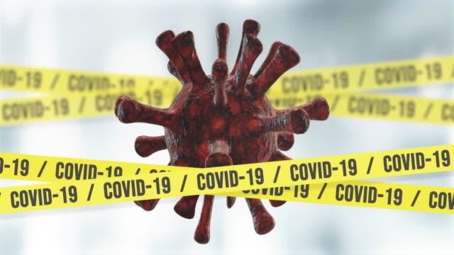 Coronavirus Tape Barrier on White Background, 4K Loopable Covid-19 Animation