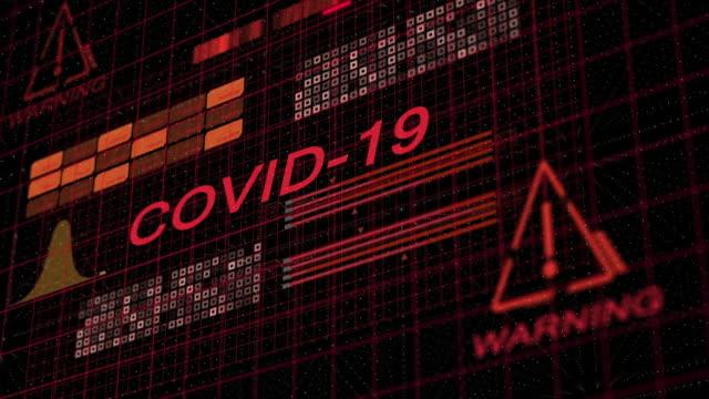 COVID-19 コロナウイルスのテキストとHUDアラートアニメーション ビデオ
