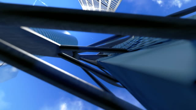 Corporate buildings and time lapse clouds, architectural pov video