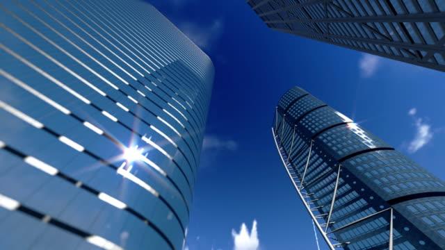 "vídeos de stock, filmes e b-roll de edifícios corporativos e intervalo de tempo de nuvens "" - plano médio"