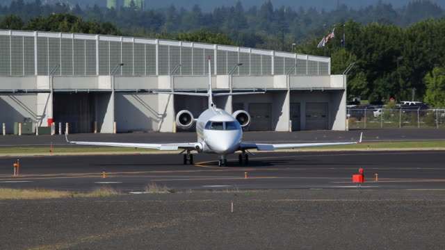 HD corporate business jet on runway video