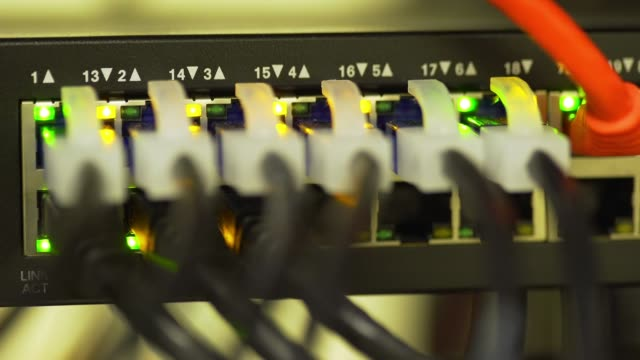 corporate network Ethernet switch blinking