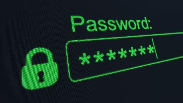 パスワードを修正します。パスワードを入力します。アカウントにログインします。アカウントのハッキング。パスワードを入力したユーザーのコンピュータ表示をマクロでクローズアップ� - パスワード点の映像素材/bロール