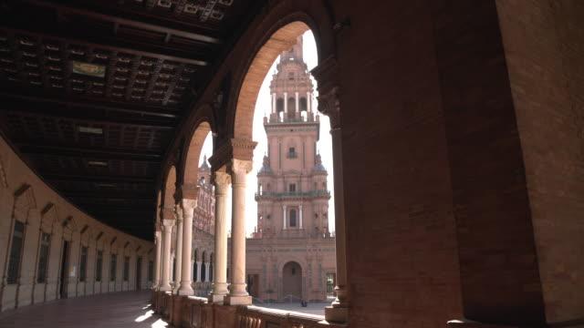 коридор и башня пласа-де-эспана - испания стоковые видео и кадры b-roll