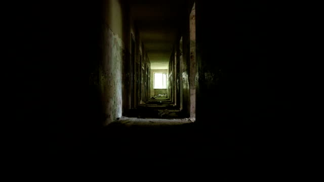 Corridor in the abandoned house. Smooth and fast steady cam shot. video