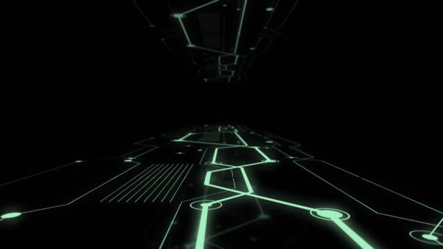 サーバーとハイテクビジュアライゼーション接続でいっぱいの作業データ センターのコリドー。 - スーパーコンピューター点の映像素材/bロール