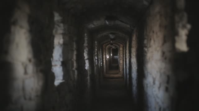 corridor of a old castle - sottosuolo video stock e b–roll