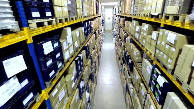 Corridor of industrial storage room video