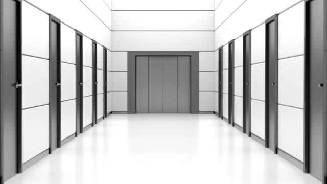 Corridor with opening elevator.