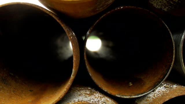 Corroded casing pipes close up video